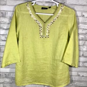 Avenue Size 14/16 Green Beaded Linen Top Blouse